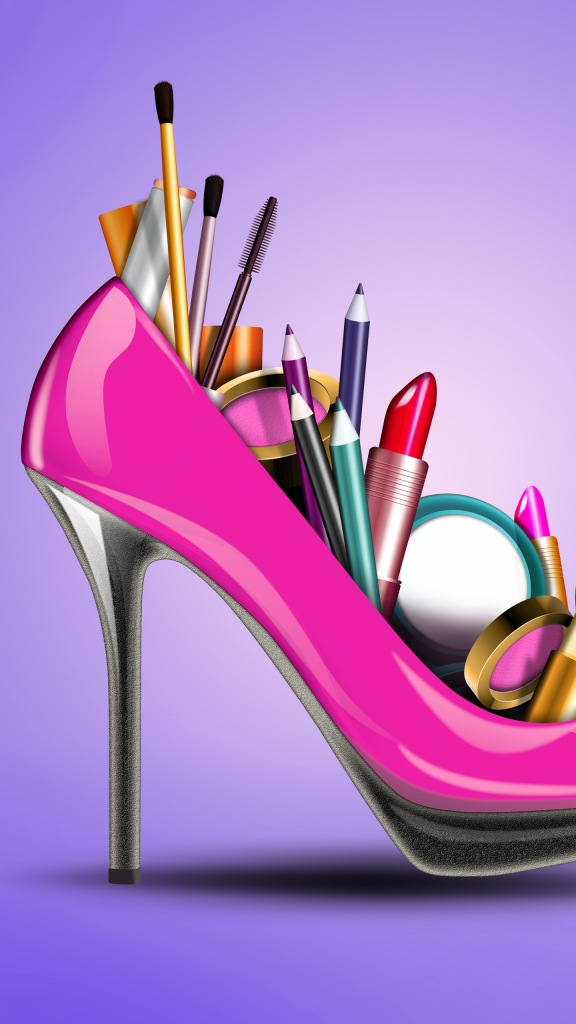 Cosmetics into a woman shoe, concept for fashion and shopping.